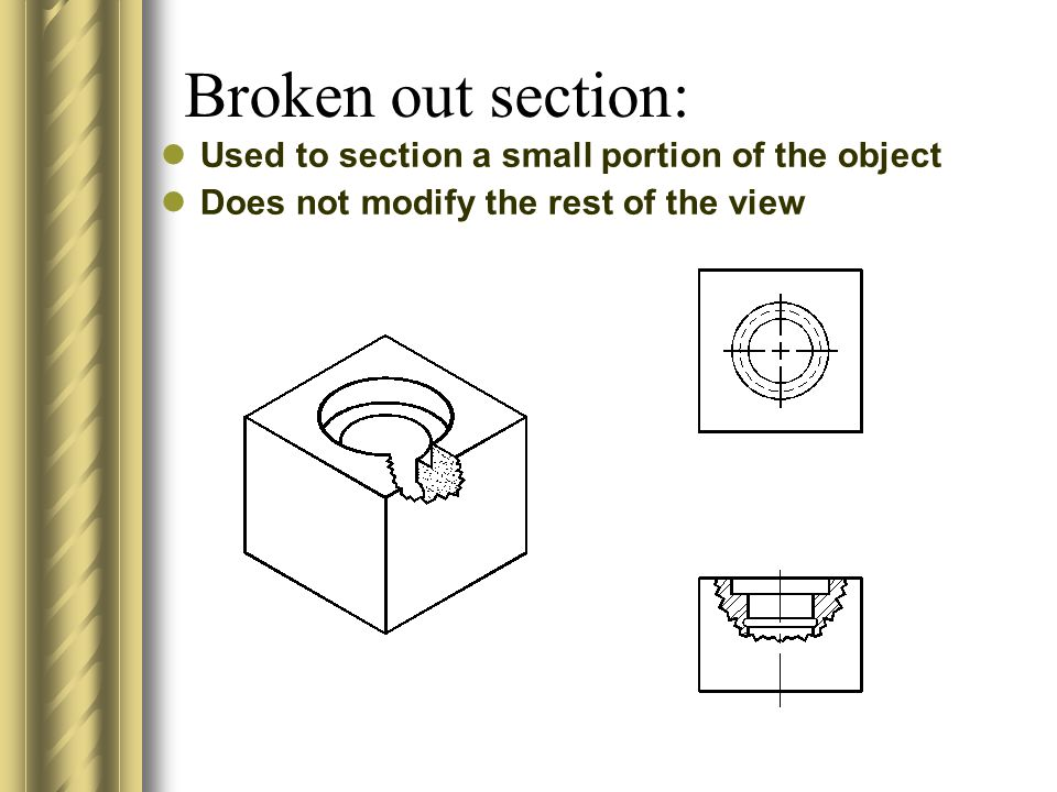 Broken out section: Used to section a small portion of the object Does not modify the rest of the view