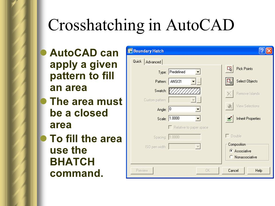 Crosshatching in AutoCAD AutoCAD can apply a given pattern to fill an area The area must be a closed area To fill the area use the BHATCH command.