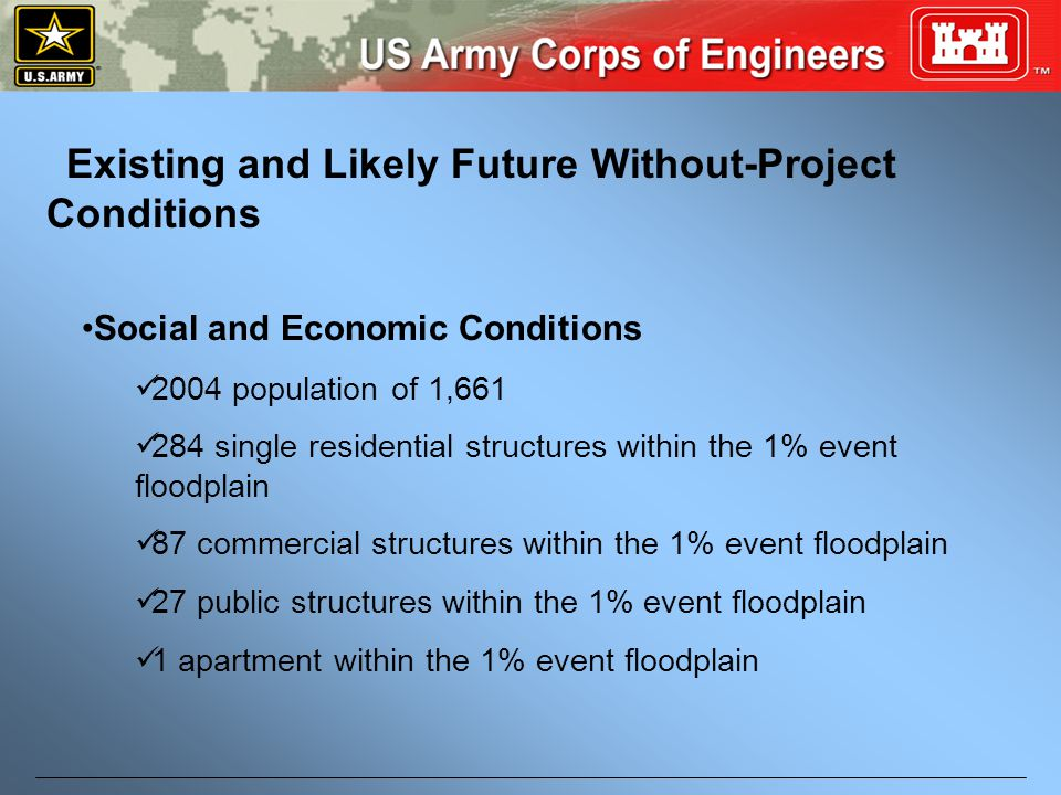 Existing and Likely Future Without-Project Conditions Social and Economic Conditions 2004 population of 1,661 284 single residential structures within the 1% event floodplain 87 commercial structures within the 1% event floodplain 27 public structures within the 1% event floodplain 1 apartment within the 1% event floodplain