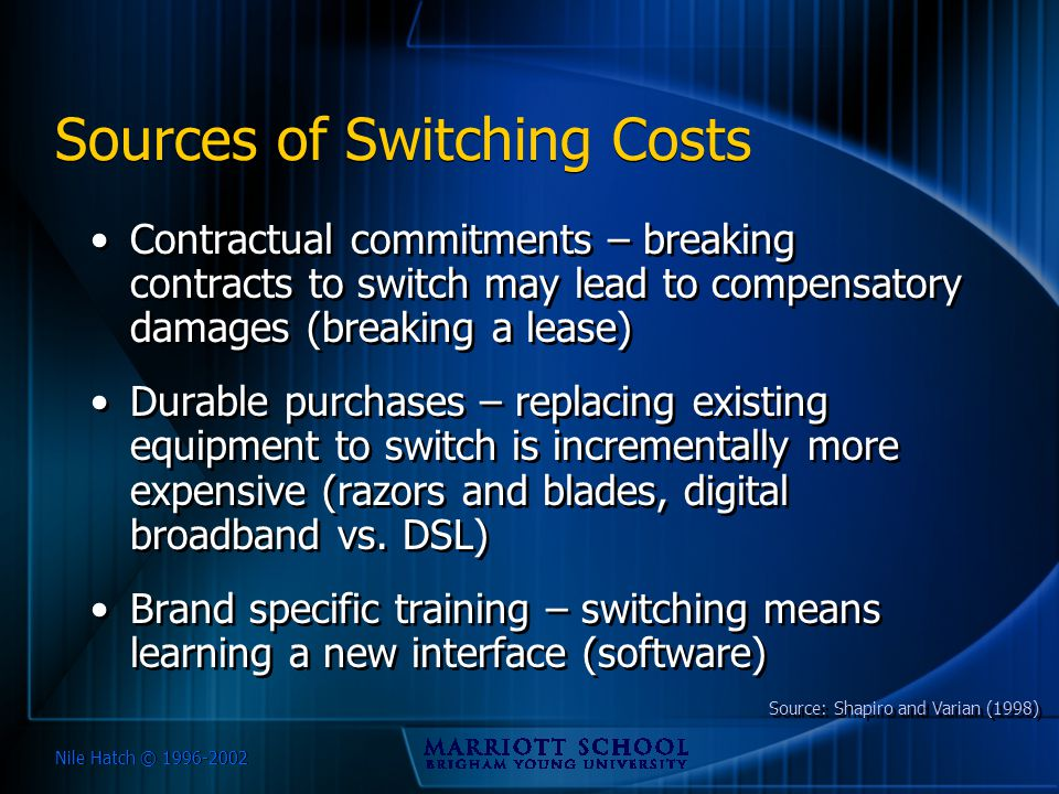 Nile Hatch © 1996-2002 Sources of Switching Costs Contractual commitments – breaking contracts to switch may lead to compensatory damages (breaking a