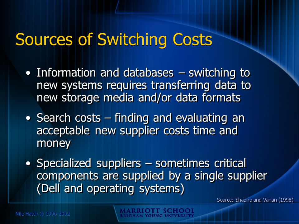 Nile Hatch © 1996-2002 Sources of Switching Costs Information and databases – switching to new systems requires transferring data to new storage media
