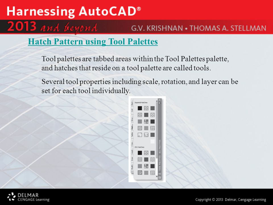 Tool palettes are tabbed areas within the Tool Palettes palette, and hatches that reside on a tool palette are called tools.
