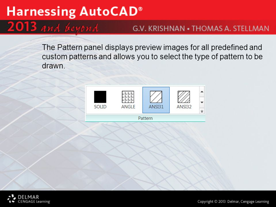 The Pattern panel displays preview images for all predefined and custom patterns and allows you to select the type of pattern to be drawn.