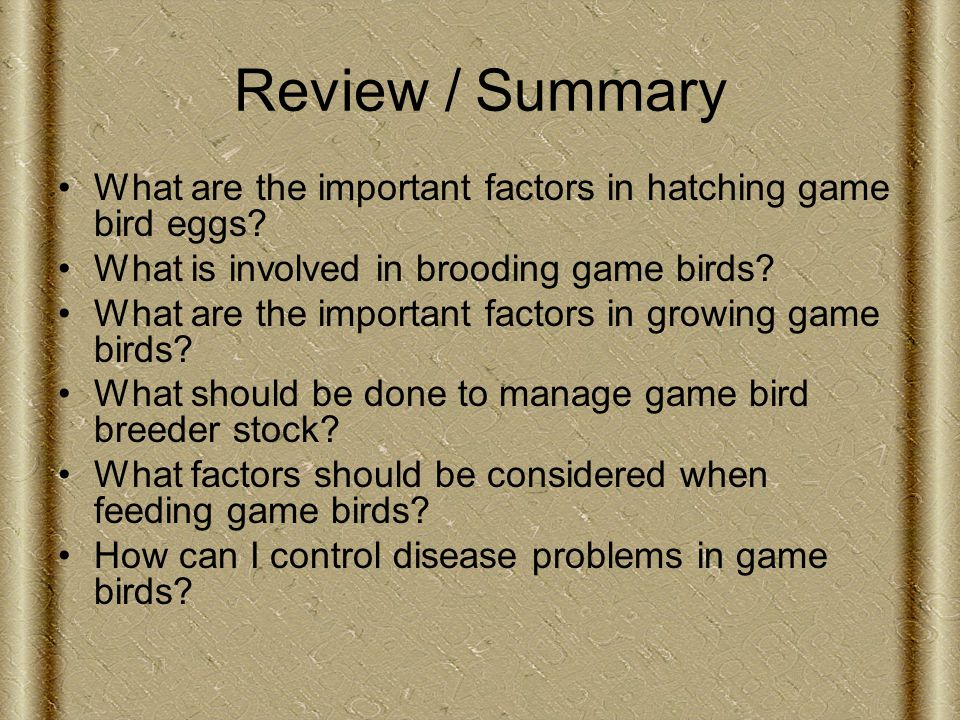 Review / Summary What are the important factors in hatching game bird eggs.