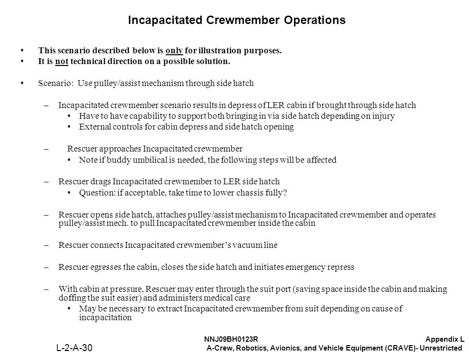 NNJ09BH0123RAppendix L A-Crew, Robotics, Avionics, and Vehicle Equipment (CRAVE)- Unrestricted Incapacitated Crewmember Operations This scenario described below is only for illustration purposes.