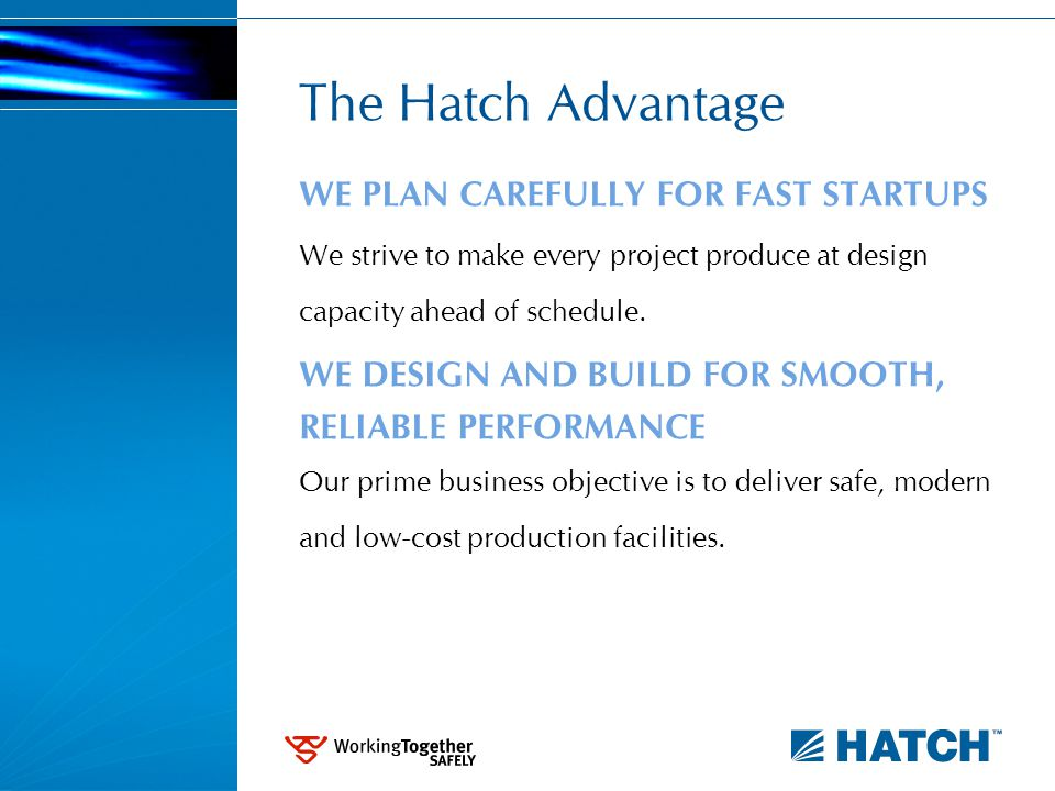 The Hatch Advantage WE PLAN CAREFULLY FOR FAST STARTUPS We strive to make every project produce at design capacity ahead of schedule.