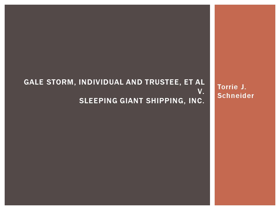 Torrie J. Schneider GALE STORM, INDIVIDUAL AND TRUSTEE, ET AL V. SLEEPING GIANT SHIPPING, INC.