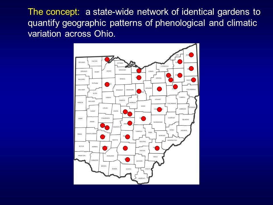 The concept: a state-wide network of identical gardens to quantify geographic patterns of phenological and climatic variation across Ohio.