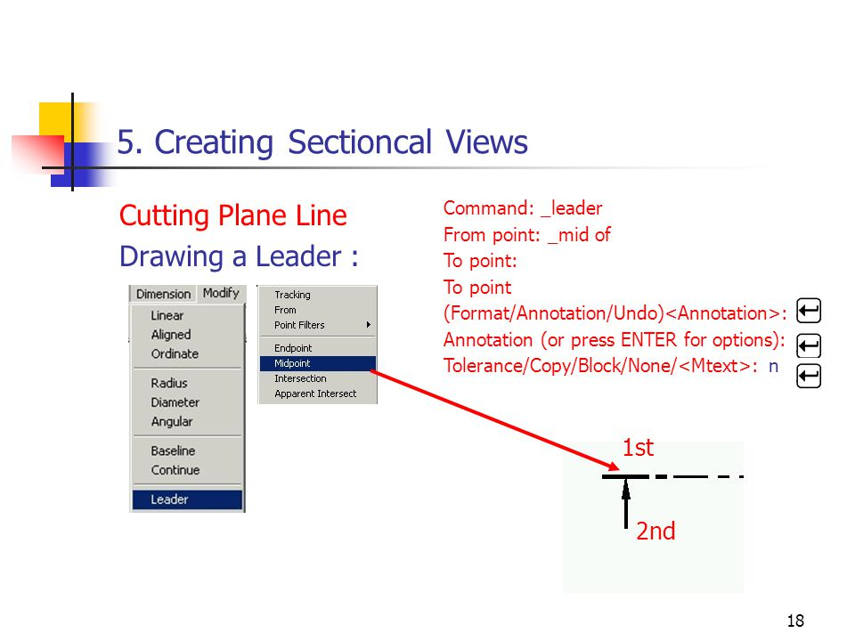 18 5. Creating Sectioncal Views Cutting Plane Line Drawing a Leader : Command: _leader From point: _mid of To point: To point (Format/Annotation/Undo)