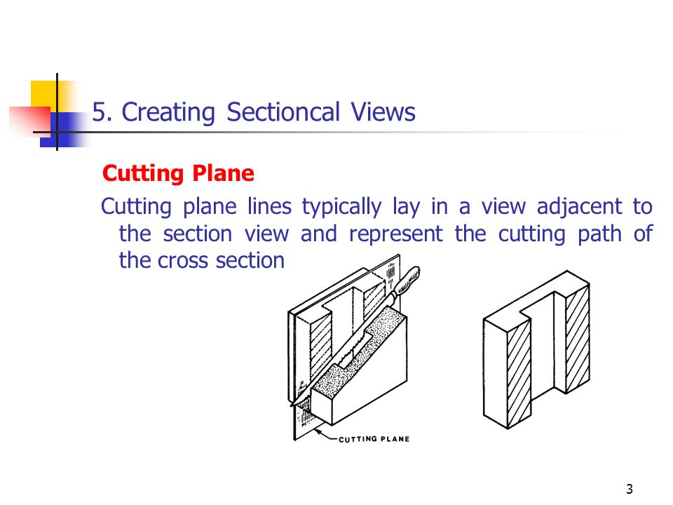 3 5. Creating Sectioncal Views Cutting Plane Cutting plane lines typically lay in a view adjacent to the section view and represent the cutting path o