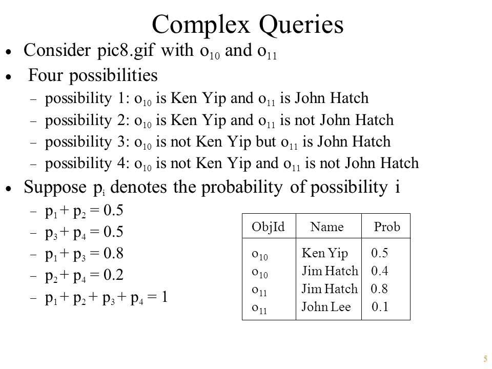 5 Complex Queries  Consider pic8.gif with o 10 and o 11  Four possibilities  possibility 1: o 10 is Ken Yip and o 11 is John Hatch  possibility 2: o 10 is Ken Yip and o 11 is not John Hatch  possibility 3: o 10 is not Ken Yip but o 11 is John Hatch  possibility 4: o 10 is not Ken Yip and o 11 is not John Hatch  Suppose p i denotes the probability of possibility i  p 1 + p 2 = 0.5  p 3 + p 4 = 0.5  p 1 + p 3 = 0.8  p 2 + p 4 = 0.2  p 1 + p 2 + p 3 + p 4 = 1 ObjId Name Prob o 10 Ken Yip 0.5 o 10 Jim Hatch 0.4 o 11 Jim Hatch 0.8 o 11 John Lee 0.1