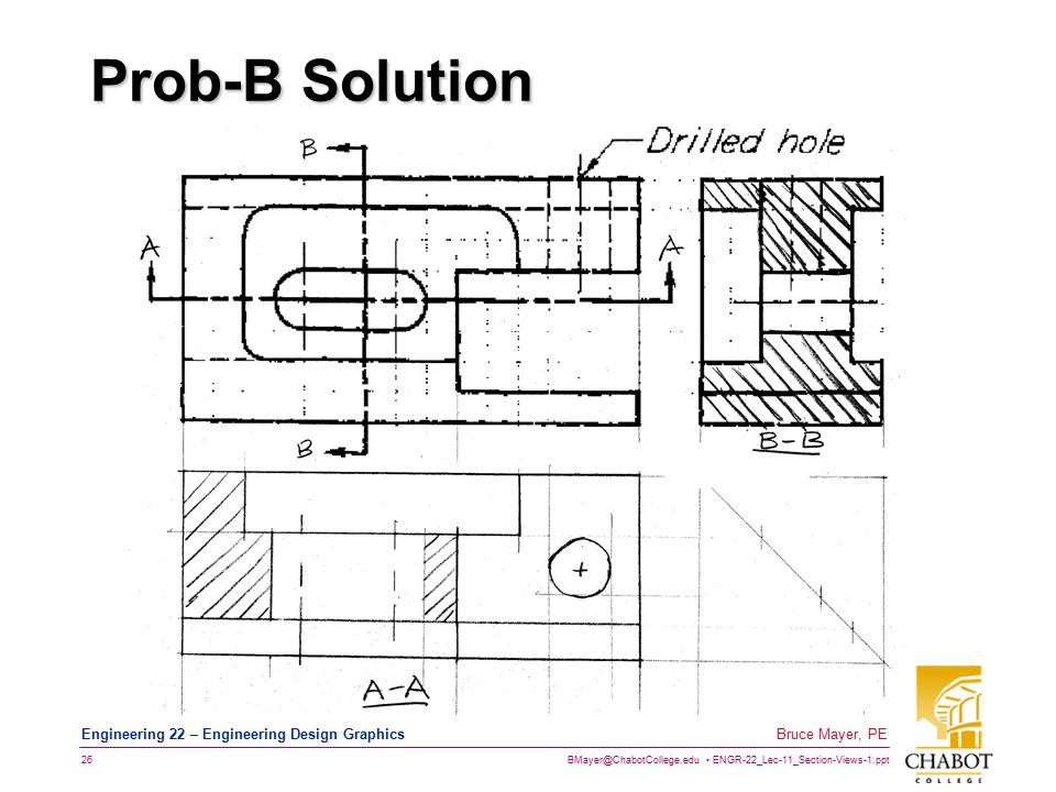 BMayer@ChabotCollege.edu ENGR-22_Lec-11_Section-Views-1.ppt 26 Bruce Mayer, PE Engineering 22 – Engineering Design Graphics Prob-B Solution