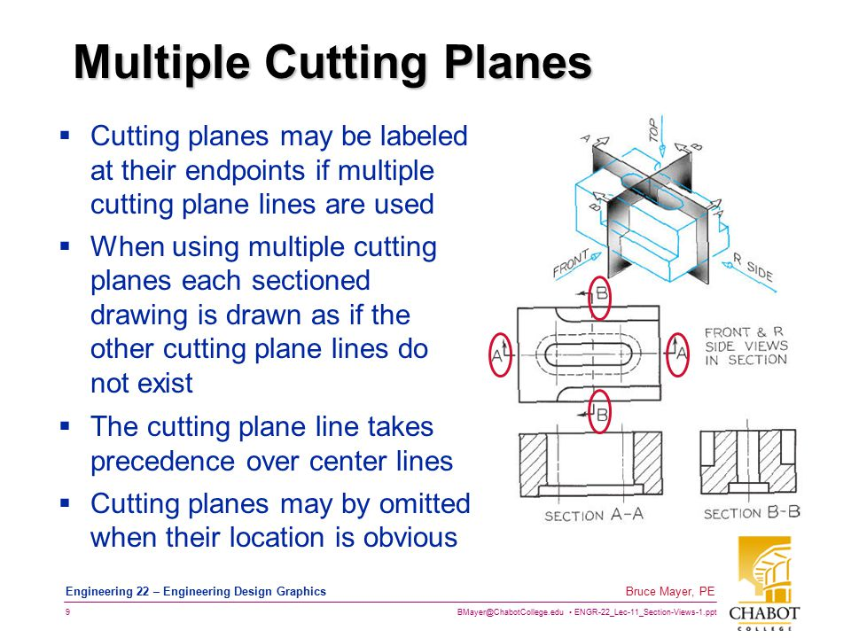 BMayer@ChabotCollege.edu ENGR-22_Lec-11_Section-Views-1.ppt 10 Bruce Mayer, PE Engineering 22 – Engineering Design Graphics Section View Placement  The Section View is Placed Opposite to the Direction of the Cutting Plane Arrows The Arrows are Rotated INTO the Paper to Reveal the Section