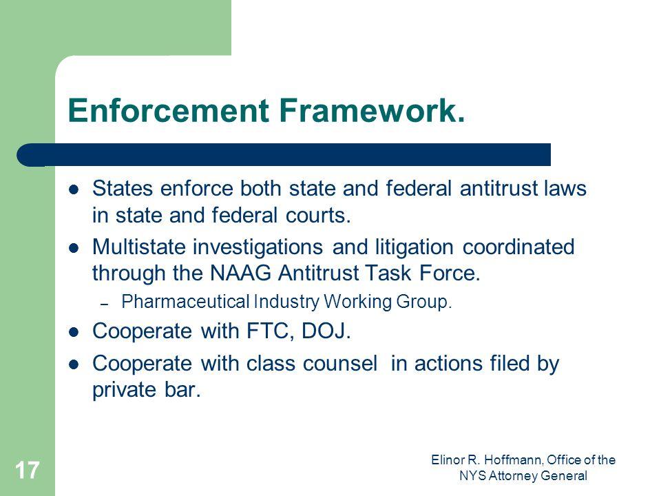 Elinor R.Hoffmann, Office of the NYS Attorney General 17 Enforcement Framework.