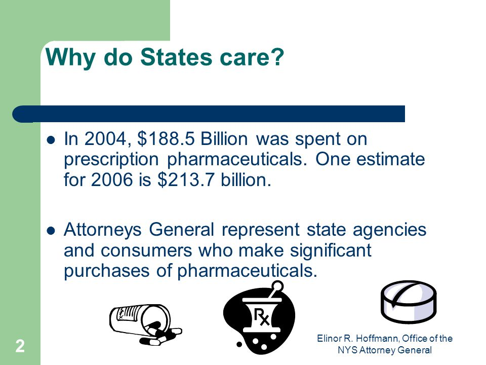 Elinor R.Hoffmann, Office of the NYS Attorney General 2 Why do States care.