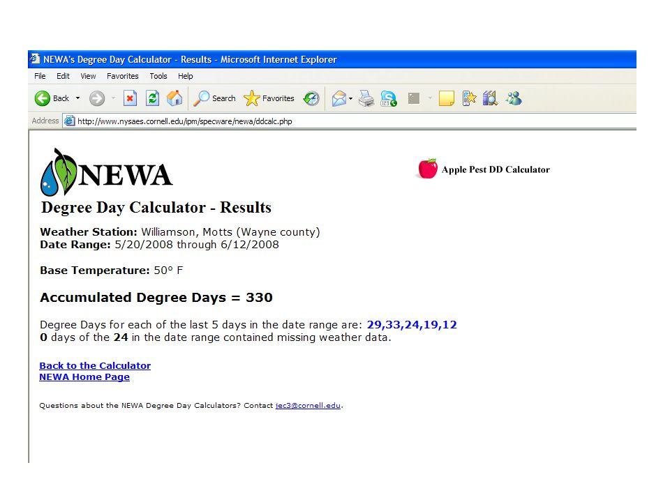 NEW NEWA calculator for beta testing- 2009 http://newa.nrcc.cornell.edu/ne waModel/apple_pesthttp://newa.nrcc.cornell.edu/ne waModel/apple_pest