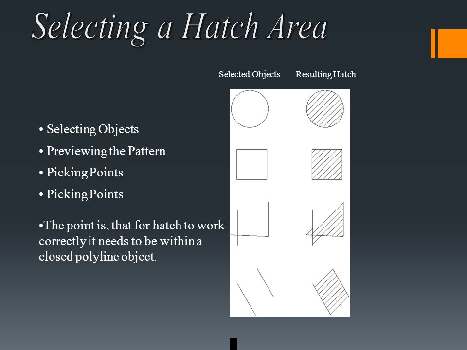 Selecting Objects Previewing the Pattern Picking Points The point is, that for hatch to work correctly it needs to be within a closed polyline object.