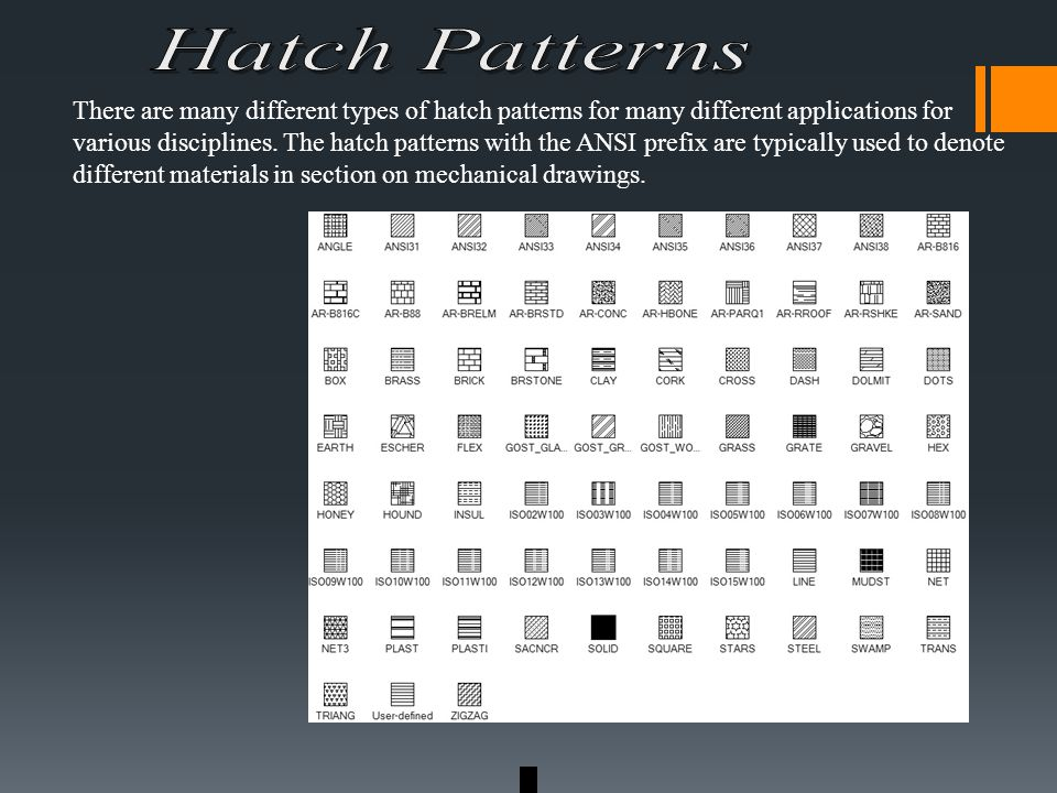 There are many different types of hatch patterns for many different applications for various disciplines.