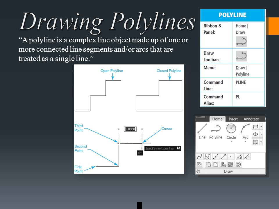 A polyline is a complex line object made up of one or more connected line segments and/or arcs that are treated as a single line.