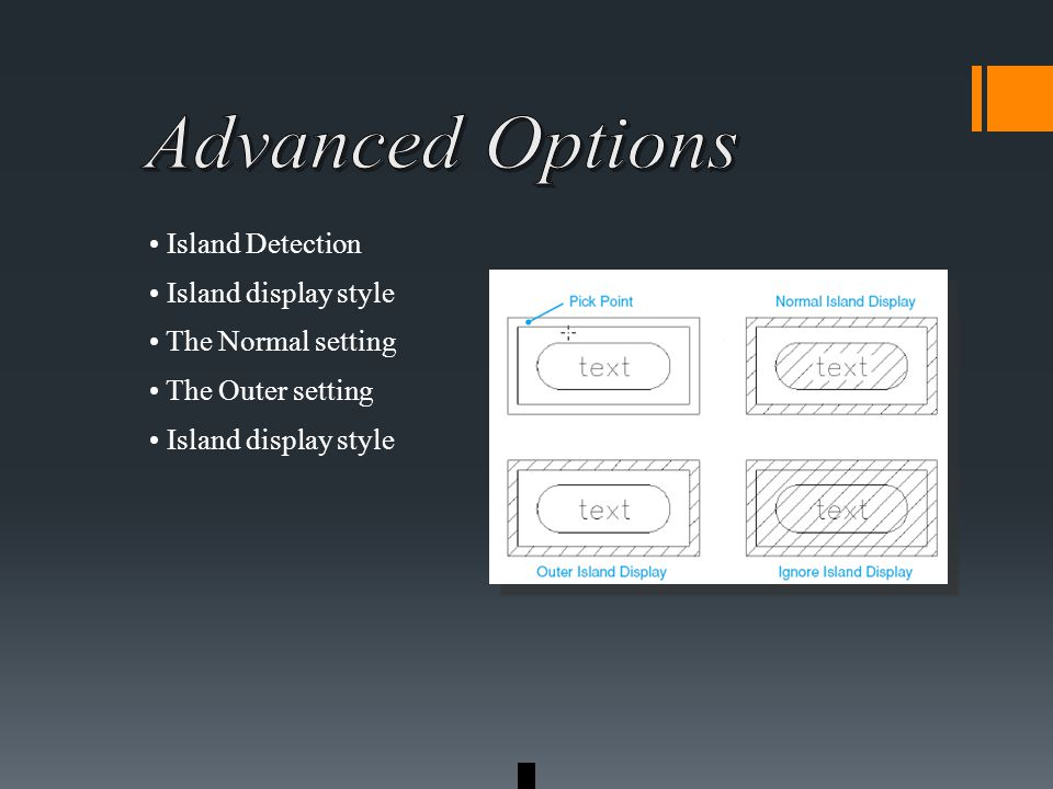 Island Detection Island display style The Normal setting The Outer setting Island display style
