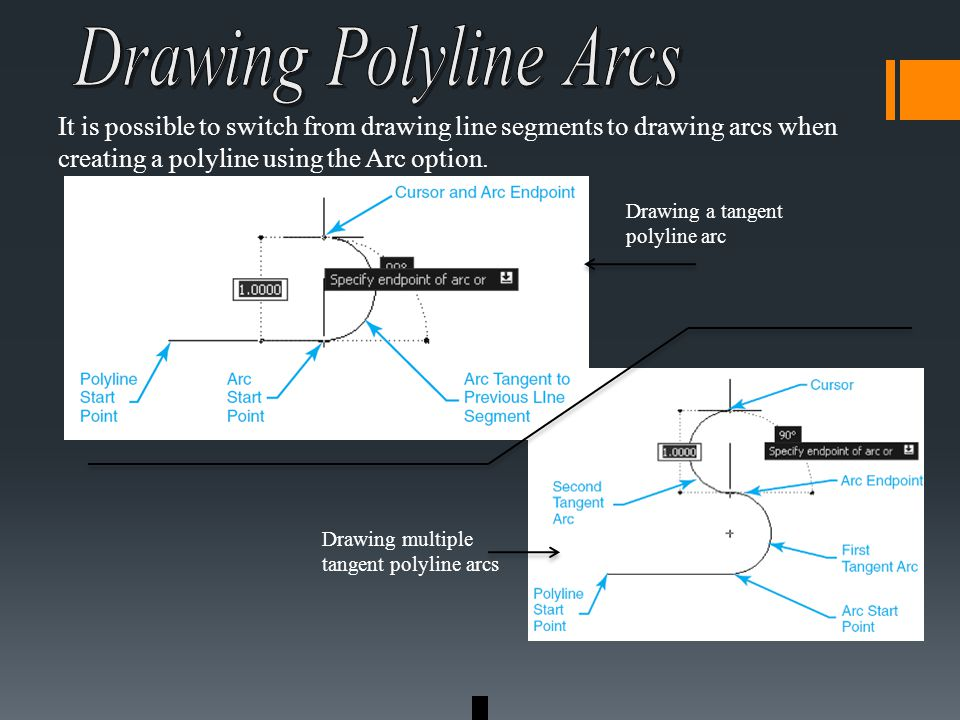 It is possible to switch from drawing line segments to drawing arcs when creating a polyline using the Arc option.