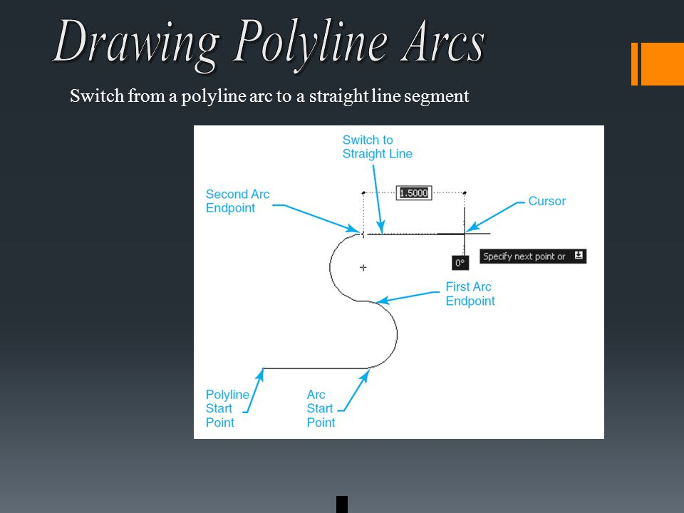 Switch from a polyline arc to a straight line segment