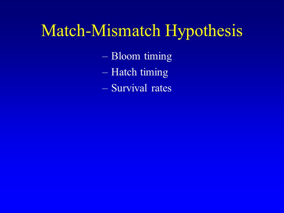 Match-Mismatch Hypothesis –Bloom timing –Hatch timing –Survival rates