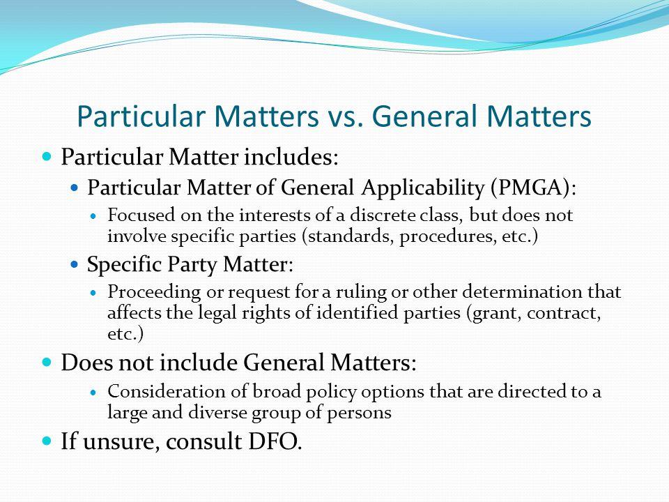 Particular Matters vs.