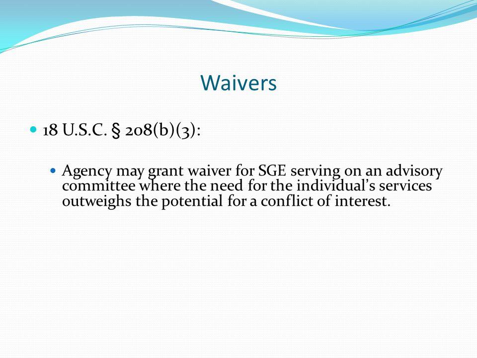 Waivers 18 U.S.C.