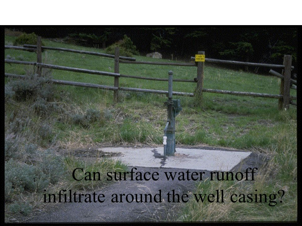 Can surface water runoff infiltrate around the well casing