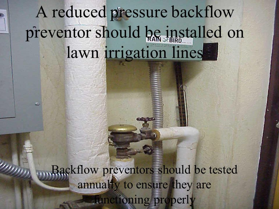 A reduced pressure backflow preventor should be installed on lawn irrigation lines Backflow preventors should be tested annually to ensure they are functioning properly