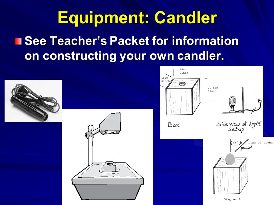 Equipment: Candler See Teacher's Packet for information on constructing your own candler.