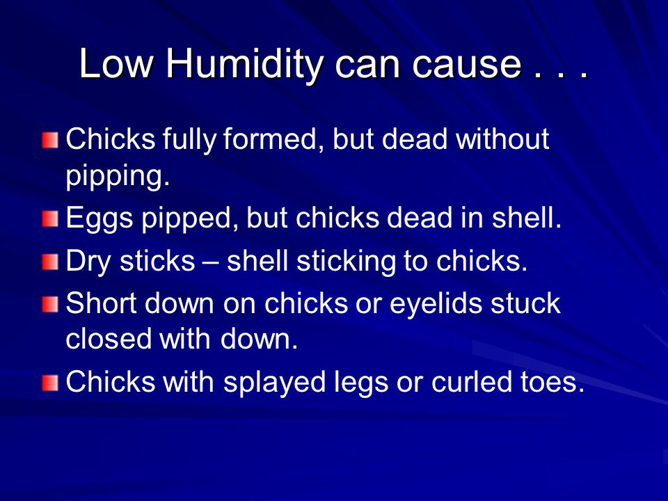 Low Humidity can cause... Chicks fully formed, but dead without pipping.