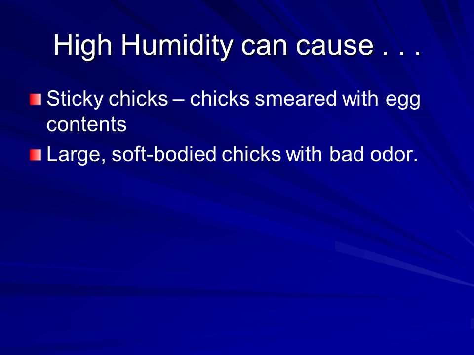 High Humidity can cause...
