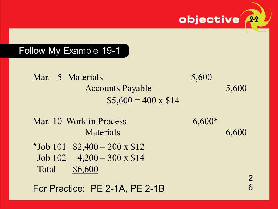 For Practice: PE 2-1A, PE 2-1B 2626 2-2 Mar. 5Materials5,600 Accounts Payable5,600 $5,600 = 400 x $14 Mar. 10Work in Process6,600* Materials6,600 Job