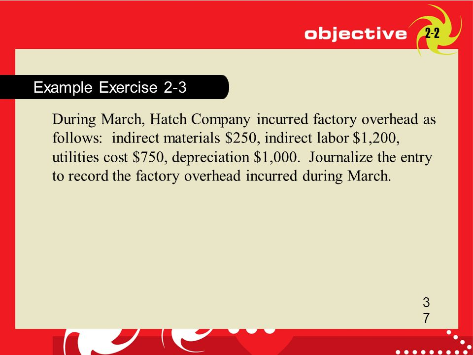 Example Exercise 2-3 2-2 3737 During March, Hatch Company incurred factory overhead as follows: indirect materials $250, indirect labor $1,200, utilit