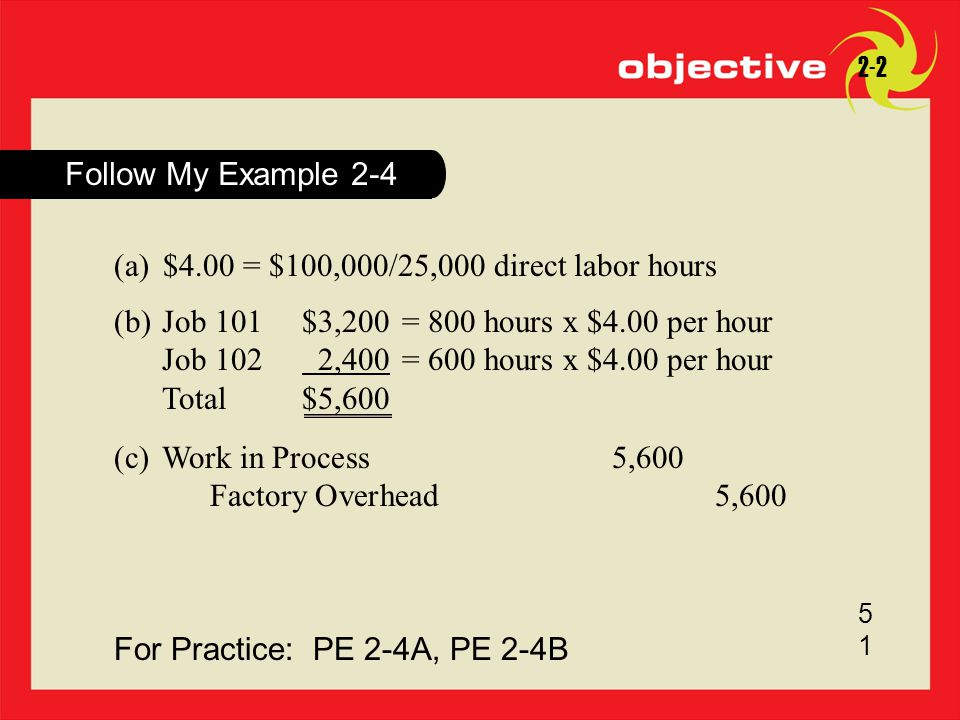 For Practice: PE 2-4A, PE 2-4B 5151 Follow My Example 2-4 2-2 (a)$4.00 = $100,000/25,000 direct labor hours (b)Job 101$3,200= 800 hours x $4.00 per ho