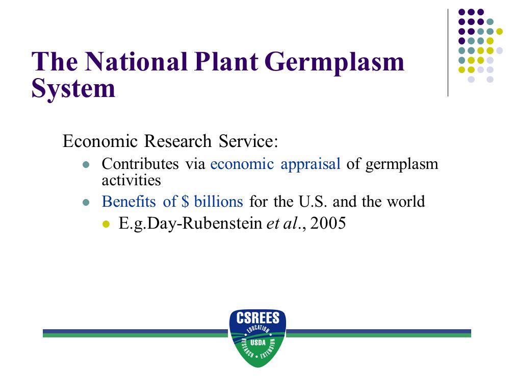 The National Plant Germplasm System Economic Research Service: Contributes via economic appraisal of germplasm activities Benefits of $ billions for t