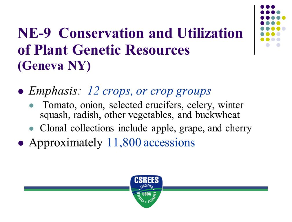 NE-9 Conservation and Utilization of Plant Genetic Resources (Geneva NY) Emphasis: 12 crops, or crop groups Tomato, onion, selected crucifers, celery,