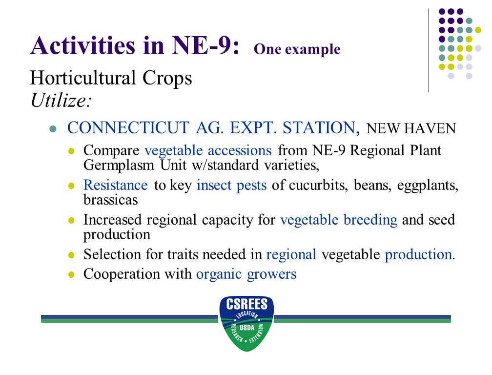 Activities in NE-9: One example Horticultural Crops Utilize: CONNECTICUT AG. EXPT. STATION, NEW HAVEN Compare vegetable accessions from NE-9 Regional