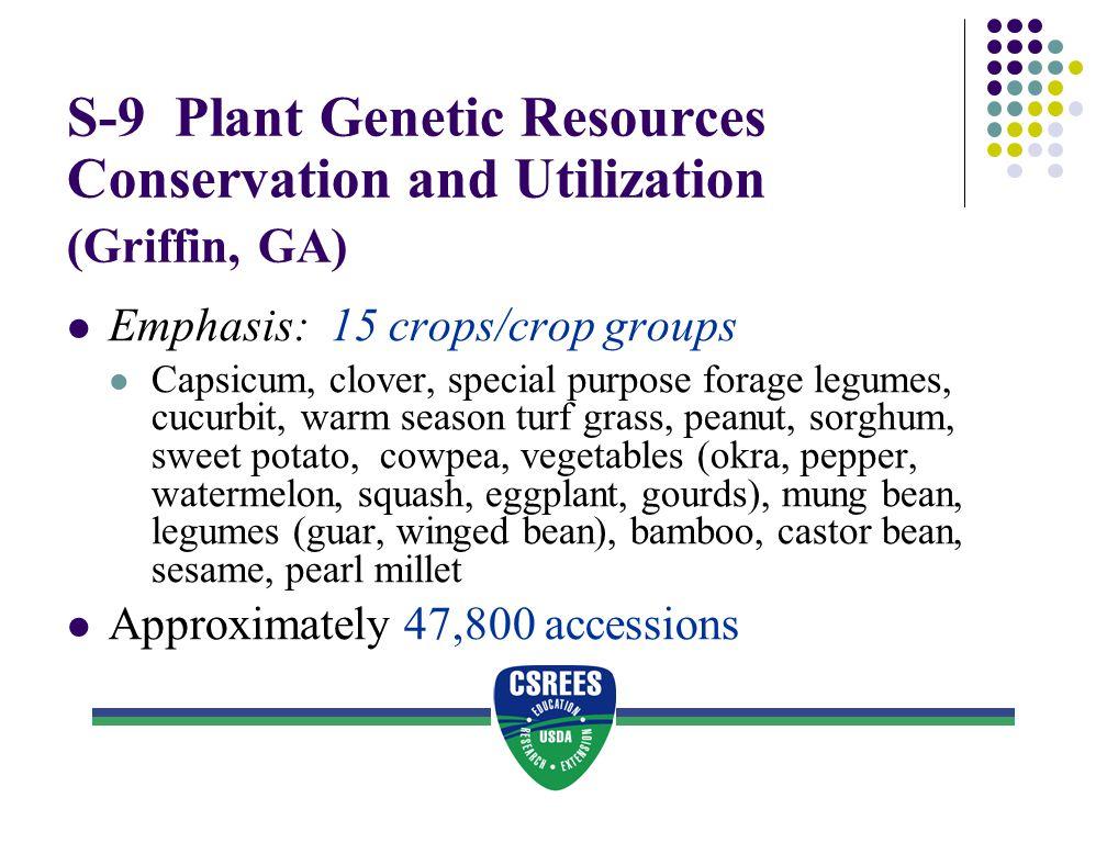 S-9 Plant Genetic Resources Conservation and Utilization (Griffin, GA) Emphasis: 15 crops/crop groups Capsicum, clover, special purpose forage legumes
