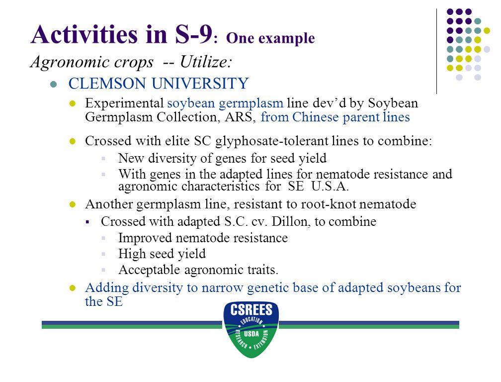 Activities in S-9 : One example Agronomic crops -- Utilize: CLEMSON UNIVERSITY Experimental soybean germplasm line dev'd by Soybean Germplasm Collecti