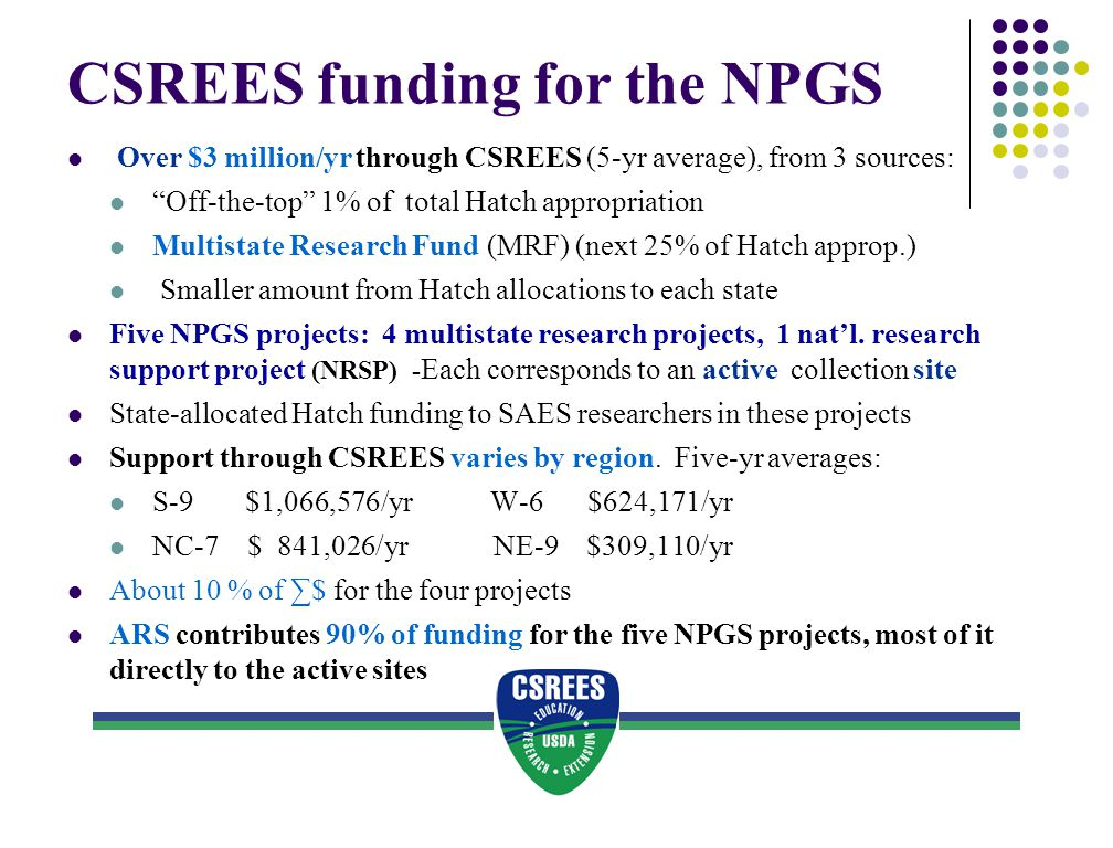 Decision-making re NPGS funds awarded through CSREES Hatch funds to NRSP: Allocation to specific NRSPs decided at ESCOP level MRF Hatch funds to the four multi-state NPGS projects: Decided by regional SAES directors associations State Hatch funds to SAES researchers collaborating with NPGS: Decided by each state's SAES director State funding sources: Host states of NPGS active sites contribute varying $, S-9 >NC-7 > W-6 > NE-9