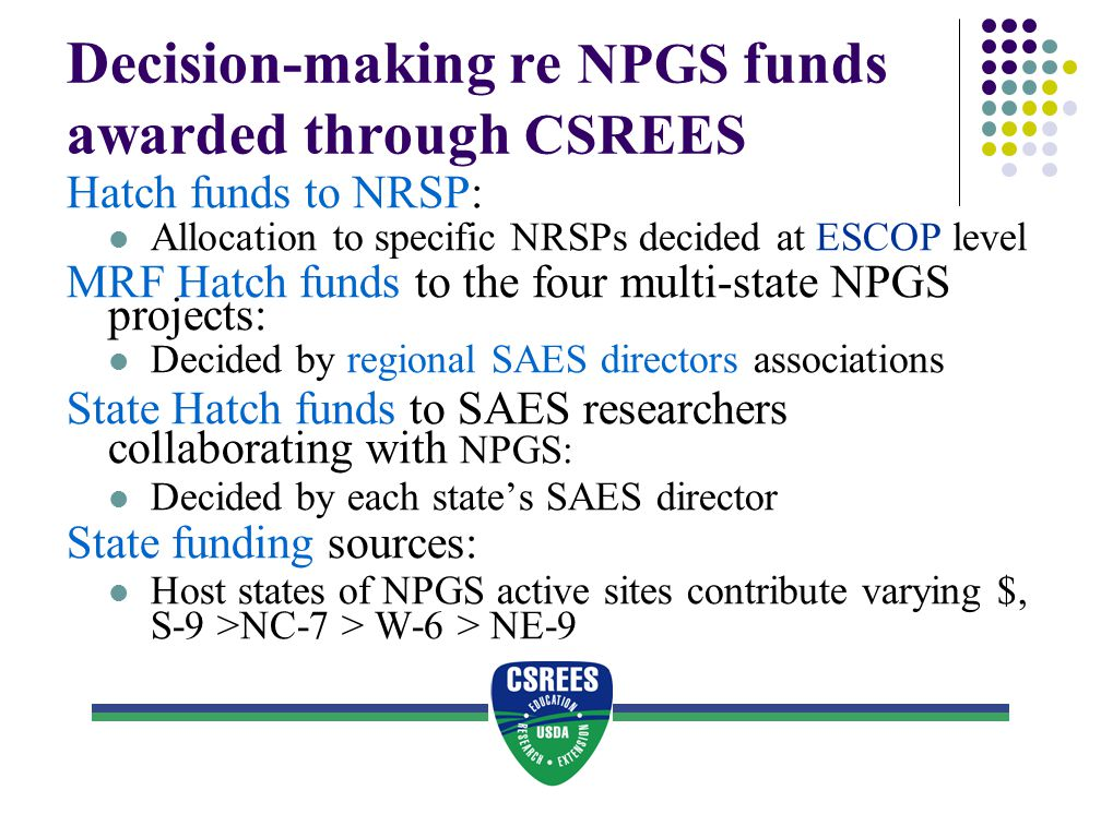 NRI- funded research using NPGS materials : Three examples 1.