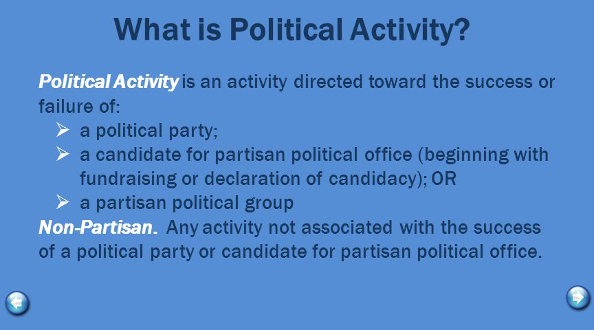 What is Political Activity? Political Activity is an activity directed toward the success or failure of:  a political party;  a candidate for partis