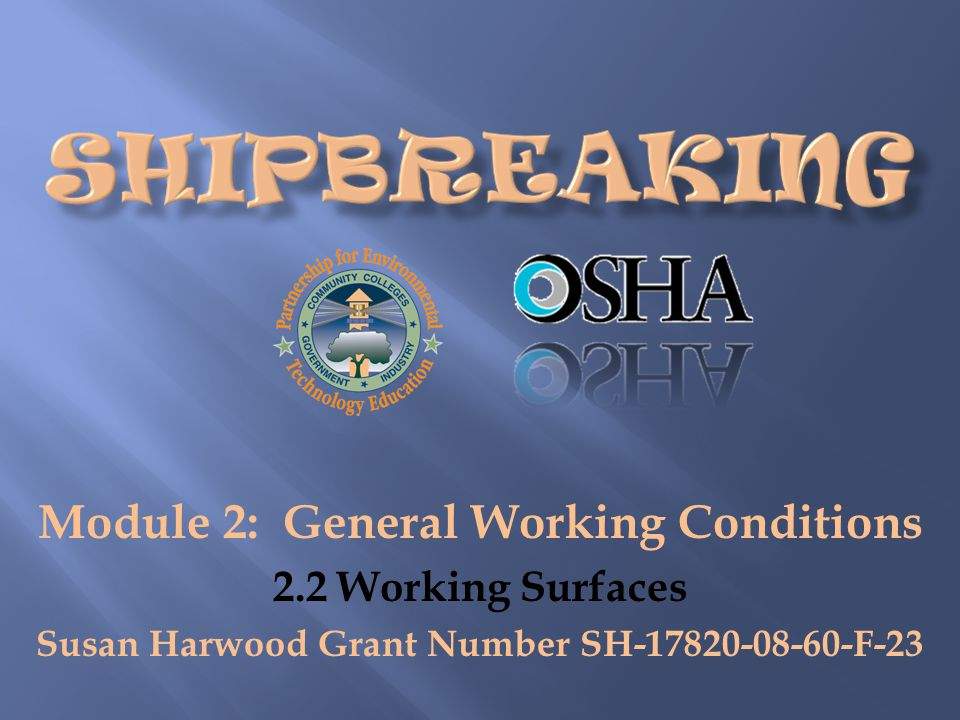 Module 2: General Working Conditions 2.2 Working Surfaces Susan Harwood Grant Number SH-17820-08-60-F-23