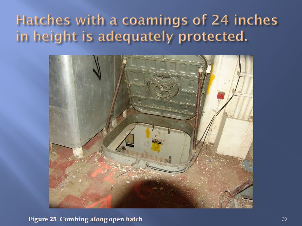 30 Figure 25 Combing along open hatch