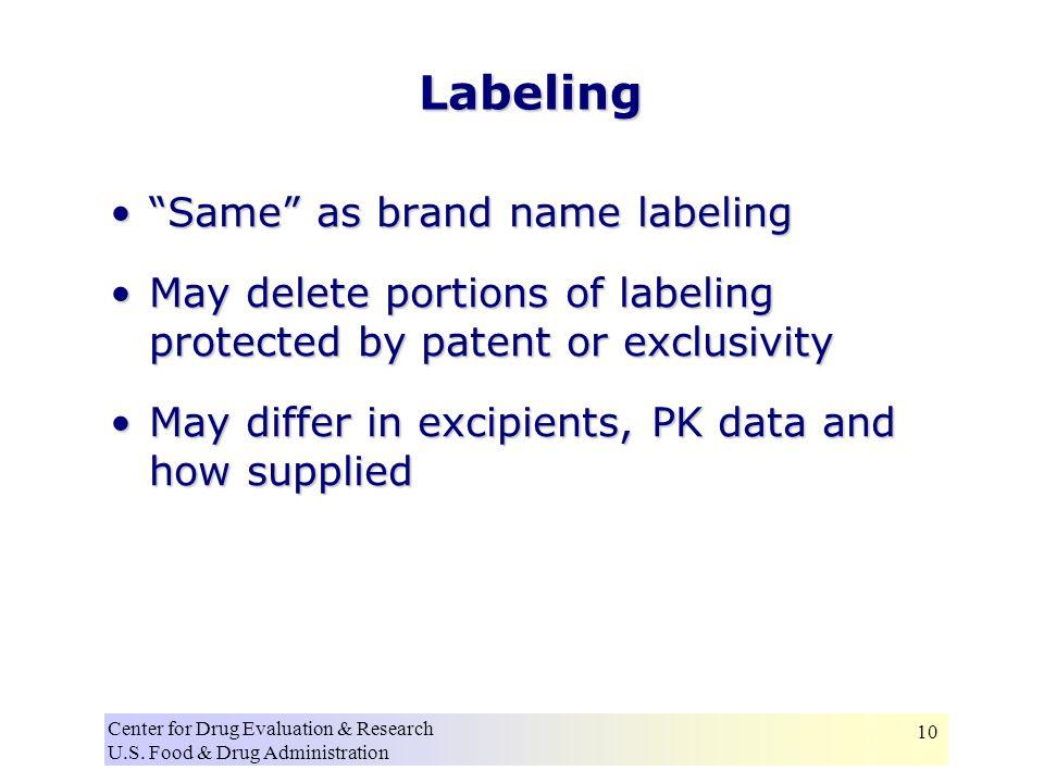 """Center for Drug Evaluation & Research U.S. Food & Drug Administration 10 Labeling """"Same"""" as brand name labeling""""Same"""" as brand name labeling May delet"""