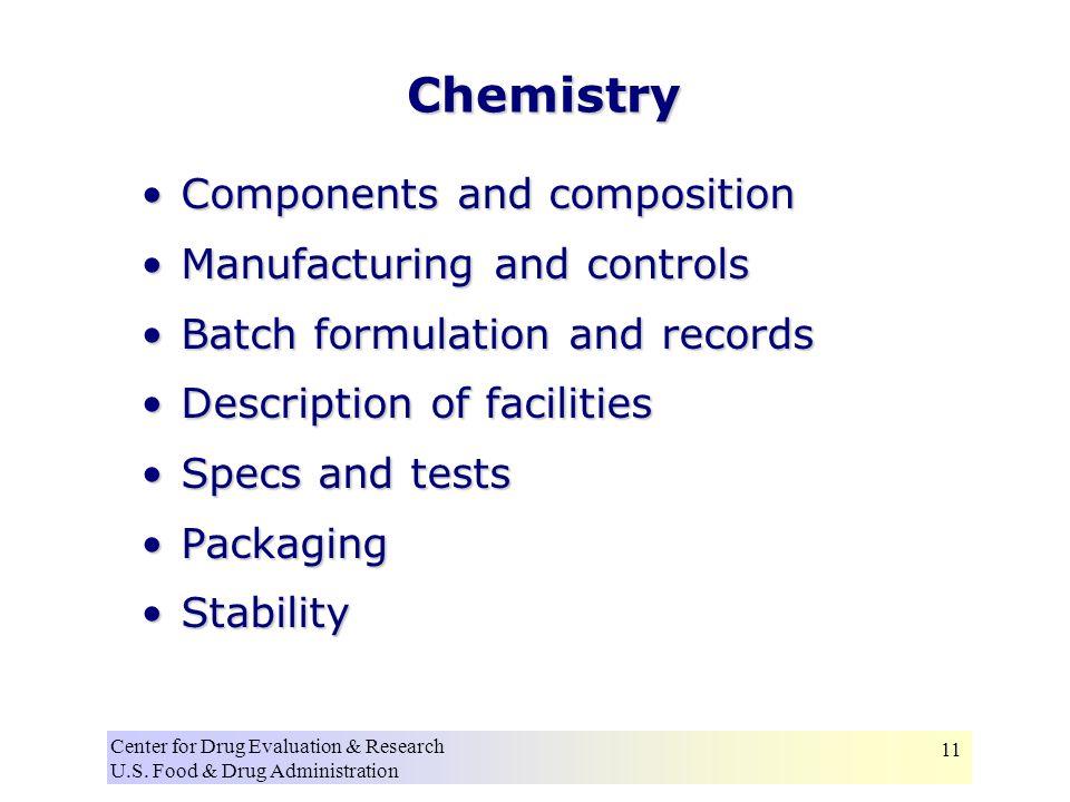 Center for Drug Evaluation & Research U.S. Food & Drug Administration 11 Chemistry Components and compositionComponents and composition Manufacturing
