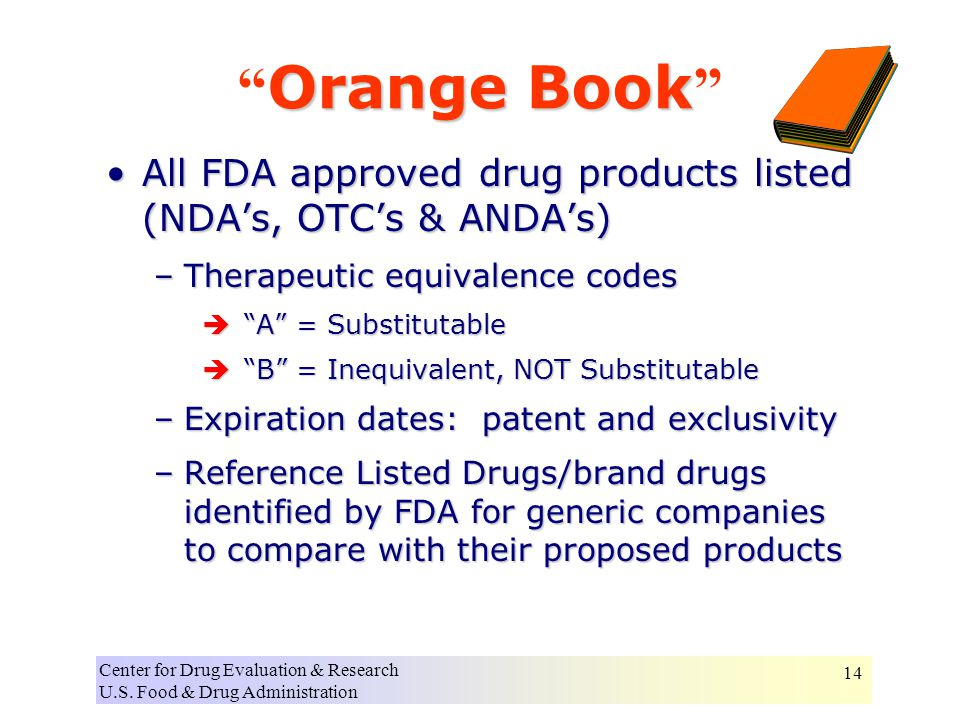 Center for Drug Evaluation & Research U.S. Food & Drug Administration 14 All FDA approved drug products listed (NDA's, OTC's & ANDA's)All FDA approved